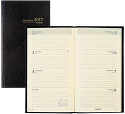 Zakagenda 2018 Brepols Interplan 7 dagen per 2 pagina's 9x16cm staand model omslag zwart creme papier (=900044).