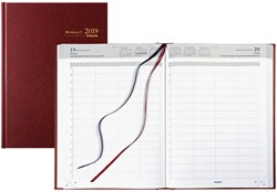 Agenda 2019 Brepols Bremax-1 1 dag per pagina 21x29cm 4 kolommen per blad omslag bordeaux wit papier (900140).