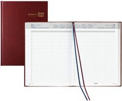 Agenda 2019 Brepols Bremax-2 1 dag per 2 pagina's 21x29cm 8 kolommen omslag bordeaux wit papier (900139).