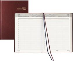 Agenda 2018 Brepols Bremax-2 1 dag per 2 pagina's 21x29cm 8 kolommen omslag bordeaux wit papier (900139).
