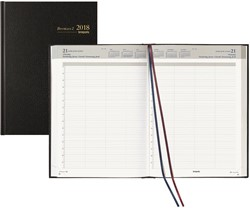 Agenda 2018 Brepols Bremax-2 1 dag per 2 pagina's 21x29cm 8 kolommen omslag zwart wit papier (900016).