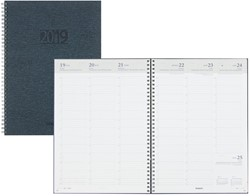 Agenda 2019 Brepols Omega Kazar wire-o 7 dagen per 2 pagina's 21x29cm omslag: stevig kleur blauw wit papier.