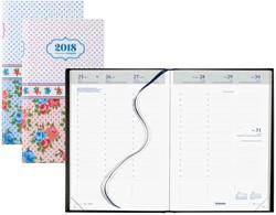 Agenda 2018 Brepols Collage Brestyle 7 dagen per 2 pagina's 14,8x21cm 6-talig omslag bloemenprint retro wit papier.