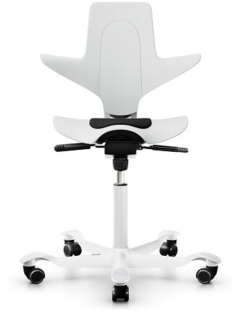 Bureaustoel HAG Capisco Puls 8010 wit zadelzitting, voetkruis alu wit en wielen zacht.