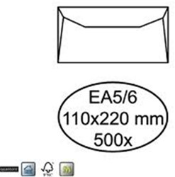 Bank envelop EA5/6 110x220mm 80 grams wit zelfklevend 500 stuks.