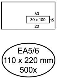 Venster envelop EA5/6 110x220mm 80 grams wit zelfklevend met venster rechts 30x100mm 500 stuks.