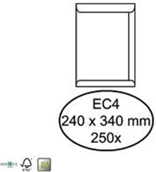 Akte envelop EC4 240x340mm 120 grams wit zelfklevend 250 stuks.