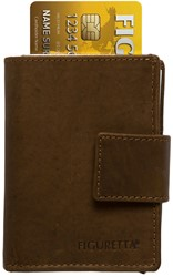 Pasjeshouder Figuretta de luxe -  lederen omslag in de kleur donkerbruin cap. 6 kaarten.