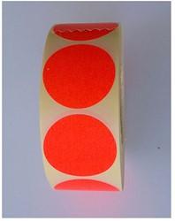 Etiket 35mm rond fluorrood op rol permanent 1000 stuks.