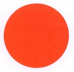 Etiket 50mm rond fluorrood op rol permanent 1000 stuks.