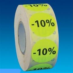 Etiket 35mm rond fluorgeel zwarte bedrukking -10% permanent op rol 1000 stuks.