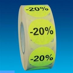 Etiket 35mm rond fluorgeel zwarte bedrukking -20% permanent op rol 1000 stuks.