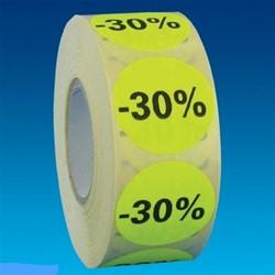 Etiket 35mm rond fluorgeel zwarte bedrukking -30% permanent op rol 1000 stuks.