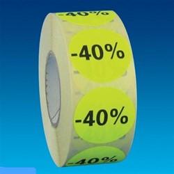 Etiket 35mm rond fluorgeel zwarte bedrukking -40% permanent op rol 1000 stuks.