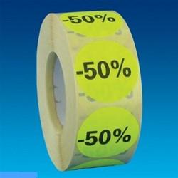 Etiket 35mm rond fluorgeel zwarte bedrukking -50% permanent op rol 1000 stuks.