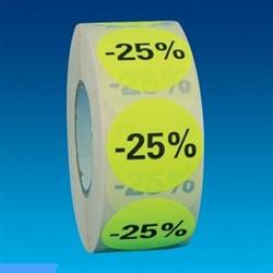 Etiket 35mm rond fluorgeel zwarte bedrukking -25% permanent op rol 1000 stuks.