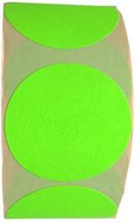 Etiket 50mm rond fluorgroen permanent op rol 1000 stuks.