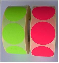Etiket 35mm rond fluor-roze op rol permanent 1000 stuks.