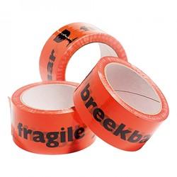 Vinyl tape 50mm x 66m oranje met opdruk: fragile breekbaar.