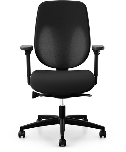 Bureaustoel Giroflex 353-8029 rug G490 zwart netbespanning zitting zwart voetkruis zwart kunststof wielen zacht.