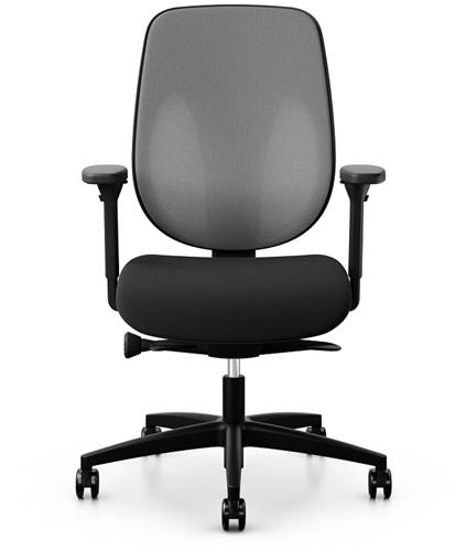 Bureaustoel Giroflex 353-8029 rug grijs 60011 netbespanning zitting zwart voetkruis zwart kunststof wielen zacht