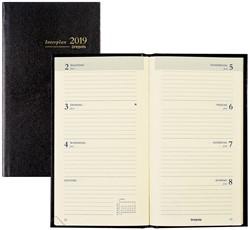 Zakagenda 2019 Brepols Interplan 7 dagen per 2 pagina's 9x16cm staand model omslag zwart creme papier (=900044).