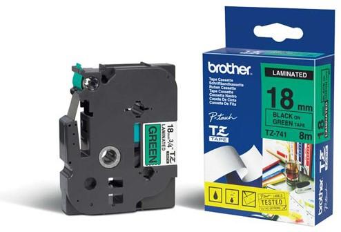 Tape Brother TZ-741 18mm groen.