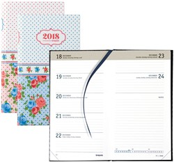 Agenda 2018 Brepols Collage Notavision 7 dagen per 2 pagina's 9x16cm 4-talig omslag bloemenprint retro papier wit.
