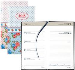 Agenda 2018 Brepols Collage Notavision 7 dagen per 2 pagina's 9x16cm 4-talig omslag bloemenprint retro.