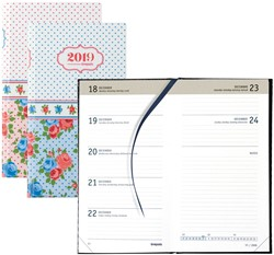 Agenda 2019 Brepols Collage Notavision 7 dagen per 2 pagina's 9x16cm 4-talig omslag bloemenprint retro papier wit.