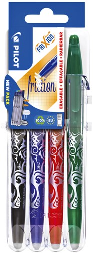 Rollerpen Pilot FriXion Set2Go BL-FR7 0.4mm set à 4 stuks basis assorti kleuren, zwart/blauw/rood/groen.
