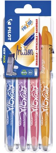 Rollerpen Pilot FriXion Set2Go BL-FR7 0.4mm set à 4 stuks fun assortie, hemelsblauw/paars/koraalroze/abrikoos oranje.
