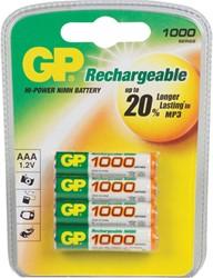 Batterij GP oplaadbaar AAA/GP-100HCC4 1.2 volt 950mAh 4 stuks.