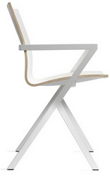 V-Chair Lourens Fischer kleur frame wit rug wit zitting wit. Design: Paul Visser