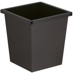 Papierbak vierkant zwart 27 liter 343x343x361mm met kunststof stoothoeken.