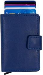 Pasjeshouder Figuretta etui - kunstlederen omslag in de kleur donkerblauw cap. 6 kaarten.