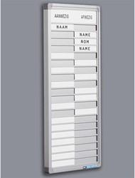 Aanwezigheid - Afwezigheidsbord 20 personen inclusief blanco plaatjes.
