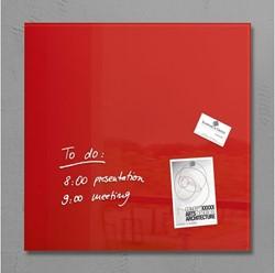 Glas-Magneetbord Sigel GL114 480x480mm rood, incl. 4 extra sterke magneten en bevestigingsmateriaal.