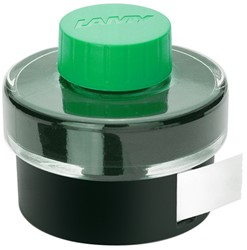 Inktpot Lamy 50ml groen T52 met opvangbekken en vloeipapier.