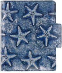 Agenda omslag Succes Mini model Starfish - Italiaans kalfsleer met zeester motief in de kleur blauw - mechaniek:15mm PM212SB04.