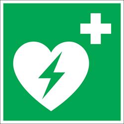 Bordje / pictogram Pickup 20x20cm hard kunststof 'AED' groen/wit.