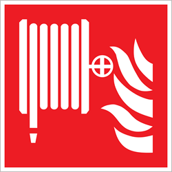 Bordje / pictogram Pickup 20x20cm hard kunststof 'Brandhaspel' rood/wit.