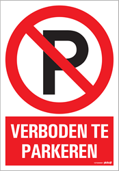 Bordje / pictogram Pickup 23x33cm hard kunststof 'Verboden te parkeren'.