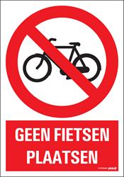 Bordje / pictogram Pickup 23x33cm hard kunststof 'Geen fietsen plaatsen'.