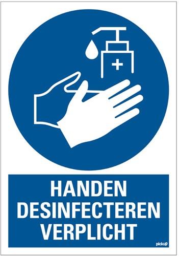 Bordje / pictogram Pickup 23x33cm hard kunststof blauw/wit 'handen desinfecteren verplicht'.