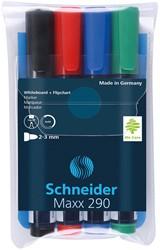 Whiteboard / flipover marker Schneider 290 rond assorti kleuren 1-3mm 4 stuks.