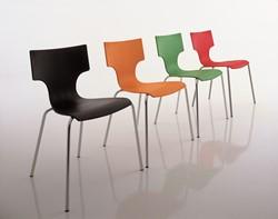 Bezoekersstoel JIM frame chroom softtouch kunststof kuip zonder armen rood #031.