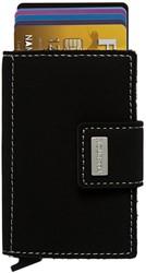 Pasjeshouder Figuretta kunstlederen omslag in de kleur zwart cap. 6 kaarten.