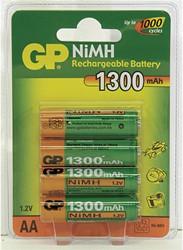 Batterij GP oplaadbaar 130AAHC AA mignon 1.2 volt 1300mAh 4 stuks.