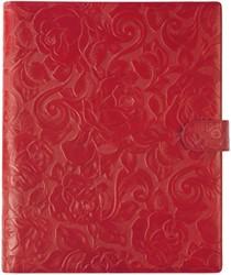 Schrijfmap Succes Rosa A4 27,5x32,5cm met schrijfblok en 4-rings 16mm mechaniek - omslag zacht kalfsleer met rozenmotief rood PB136RS12.